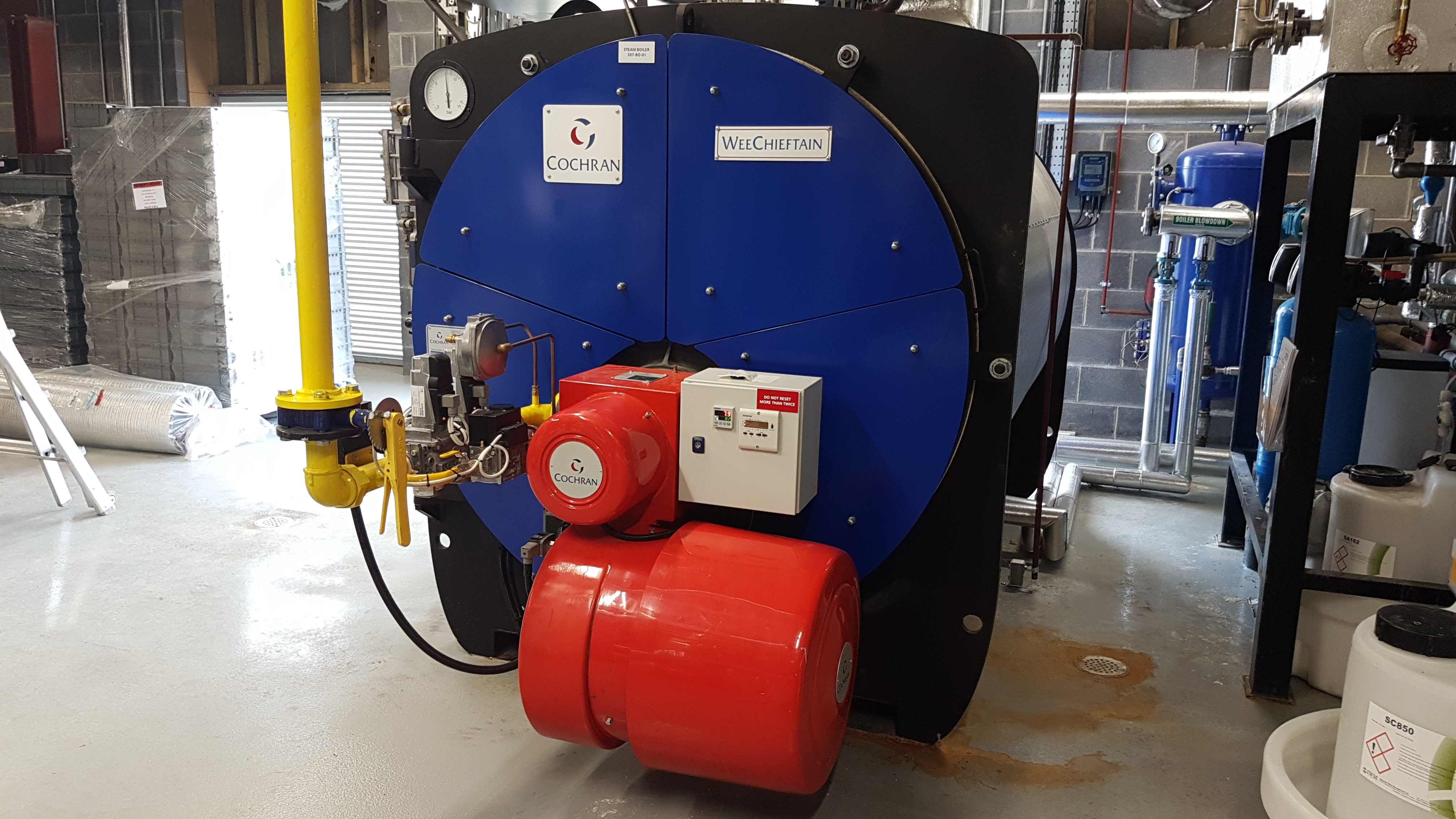 A new Cochran Steam boiler 1,500 KG/HR 10 Barg gas fired installed at Eirgen Pharma Waterford.